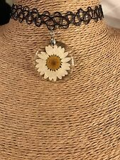 Real Daisy Daisies Flower Resin Henna Tattoo Choker
