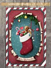 """5 Weihnachtskarten, """"Christmas Stocking"""" Postkarte 17,5 x 12 cm"""