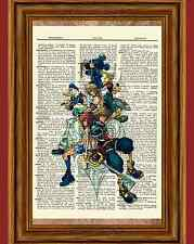Kingdom Hearts Dictionary Art Print Poster Picture Game Donald Goofy Sora Roxas