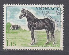 TIMBRE  MONACO OBL N° 838   CHEVEAUX DE SANG CHEVAL BARBE