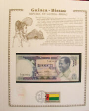 Guinea-Bissau Banknote 500 Pesos 1983 P 7 UNC w /UN FDI FLAG STAMP Prefix D/1