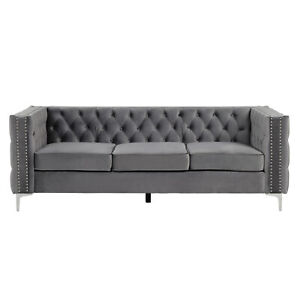 Morden Fort 3-Seat Sofa with Dutch Velvet, Solid Wood Frame and Iron Legs-Grey