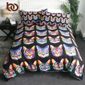 Floral Cat Duvet Cover Twin Flower Wreath Bedding Set Oil Painting Bedspread