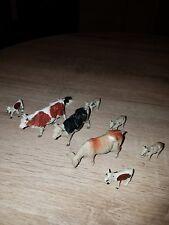 2 Lead Britain Farm Bulls 1 Cow & 5 Calf's Animals Antique Vintage