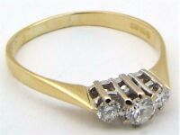 18Carat 18ct Yellow Gold Diamond 3 Stone Three-stone Trilogy Ring UK Size N