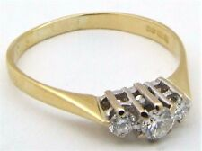 18Carat 18ct Yellow Gold Diamond 3 Stone Three-stone Trilogy Ring UK Size N