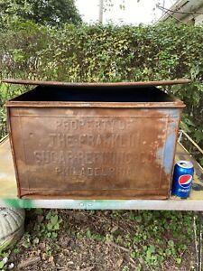 Antique 1900's Franklin Sugar Refining Co USA Store DISPLAY TIN BOX BIN #14133