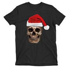 Santa Skull CHRISTMAS Gothic T-Shirt Mens Womens Organic Unisex Dark Goth Funny