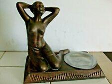 1920's NUDE LADY INCENSE BURNER art deco / nouveau FRANKART ERA SPELTER RARE WOW