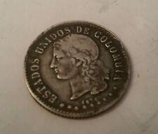 1876 Estados Unidos de Colombia Silver Twenty Cent Medellin Uncleaned 20 Cents