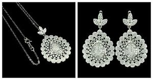 Earrings Pendant Bright White Lab Created Stones Sterling Silver 18 Inch Chain
