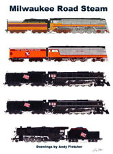 "Milwaukee Road Steam Locomotives 11""x17"" Poster by Andy Fletcher signed"