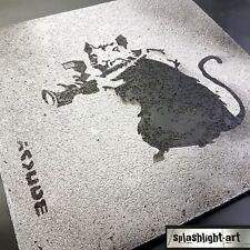 Banksy Photographer Rat Black Spray Paint on Textured Concrete Effect Street Art