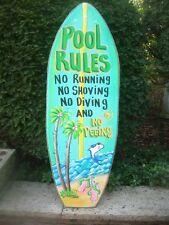POOL RULES TROPICAL SURFBOARD DECORATIVE ART TIKI HUT BAR POOL PLAQUE SIGN