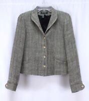 beige herringbone RALPH LAUREN blazer jacket tweed linen silk shawl collar S 6