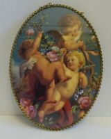 """LLRR1 VINTAGE OVAL PICTURE OF CHUBBY CHERUBS FRAMED IN CHAIN LINK 11 X 8"""""""