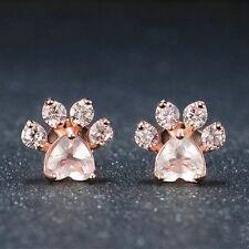 Elegant Cute Jewelry Gift Ear Stud Rose Quartz Dogs Footprints Paw Earrings