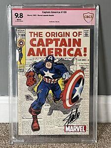 2002 Reprint Captain America 109: Marvel Legends CBCS 9.8 W Stan Lee Signed 🔥
