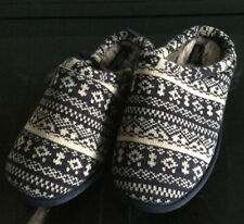 BNWT Next Mens Fair Isle Blue & Cream Slippers With Memory Foam Size 7 UK 41 EUR