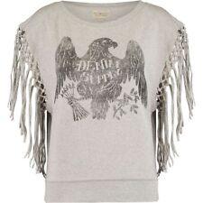 Denim & Supply RALPH LAUREN 'Heather' Granite Eagle Fringed Sweatshirt - size XS