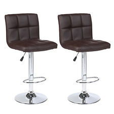 Set of 2 Counter Height Leather Adjustable Swivel Bar Stools Chairs Pub Brown