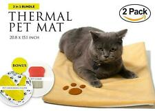 2 PACK Thermal Mat - Self Warming Heating Pad for cats / dogs - Grooming Glove