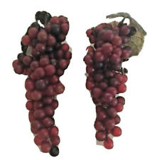 "2 bunches artificial fruit plastic grapes dark red 7"" lot decoratve home accent"