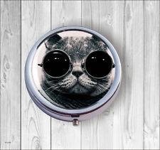 CAT GREY BRITISH SHORT HAIR & GLASSES PILL BOX ROUND METAL -sbk8Z