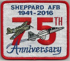 USAF SHEPPARD AFB 75TH ANNIVERSARY  PATCH -  HOOK AND LOOK BACK.          COLOR