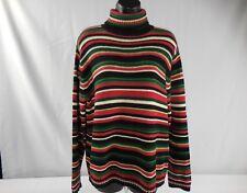 Tiara International Long Sleeve Pullover Turtle Neck Ramie Multi-Color Sweater L