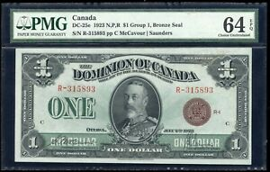 Dominion of Canada $1, 1923 DC-25e, Bronze seal. PMG Choice Uncirculated 64 EPQ