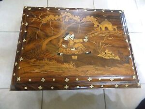 Vintage Hand Carved Walnut Wood Chest Inlaid Pearl Chinese Theme (12
