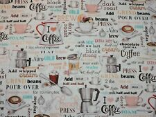 Coffee House 100% Cotton Fabric 1/2 Yard Continuous