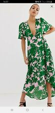 Asos Missguided Pink Green Tropical Palm Leaf Wrap Kimono Maxi Dress 10 12 bnwt