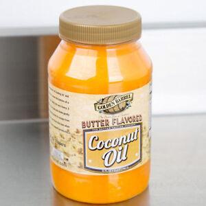 Golden Barrel 32 oz BUTTER FLAVORED COCONUT OIL Quart Popcorn Cooking Flavor