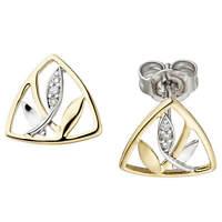 Ohrstecker Ohrringe, Blätter mit 6 Diamant Brillanten 585 Gold Gelbgold Weißgold