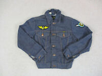 VINTAGE Wrangler Jacket Girls Medium Size 12 Jean Denim Western Coat Kids 90s *