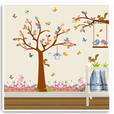 Animal Wall Sticker Jungle Squirrel Bird Tree Nursery Baby Kids Room Decals Art