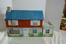 Vintage Large Tin Metal Litho Marx Two Story Colonial Doll House And Furniture