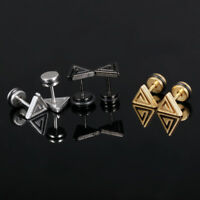Triangle Silver Black/Yellow Gold GP Surgical Stainless Steel Stud Earrings Gift