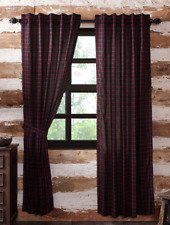 "GLENNOCK Panel Set Black/Red Windowpane Plaid Rustic Lined VHC Brands 84""x 40"""