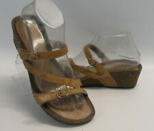 Womens Teva Ventura Wedge Modoc Rialto Leather Slide Sandals Size 8 US 39 EUR