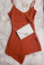 Almost Famous Orange jumpsuit dress with shorts, Classy & sexy one piece outfit