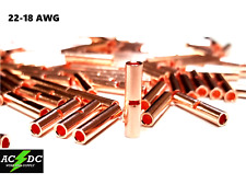 22-18 Gauge 25 Pk UninsulateD Bare Copper Butt Connector Terminal Wire