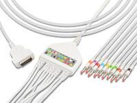 Curbell CB-45509-B Compatible One-piece ECG EKG Machine Cable AHA 10 Lead Banana