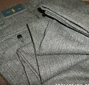 POLO RALPH LAUREN mens dress pants BROWN HERRINGBONE FLAT FRONT SIZE 34 - NWT