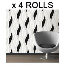 Black Glitter Waves Wallpaper Silver White Quality Textured Vinyl Feature x 4