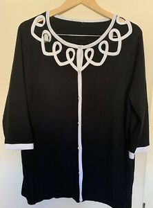 Casamia Exclusive Ladies 3/4 Sleeve Black White Contrast Knit Cardigan Size XL