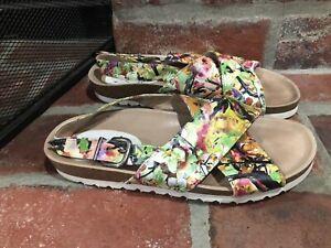 Anthropologie KMB Floral Leather Platform Sandals Size 39