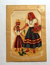 Vintage Meyercord Decal w Mexican Woman Holding Chilis and Child w Water Pot 885